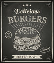 Burger poster house on chalkboard Royalty Free Stock Photos