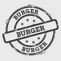 Burger rubber stamp isolated on white background.