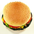 Burger shaped dog toy closeup of squeaky like hamburger in seeded bread bun Stock Photo