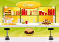 Burger shop illustration of interior Stock Image