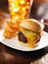 Burger slider with french fries and drink photo of a Stock Images