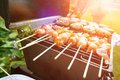 Burgers and chicken kebabs on hot barbecue outdoor in the evening sun. Royalty Free Stock Photo