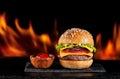 Burgers hamburgers cheeseburgers on fire Royalty Free Stock Photo