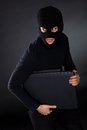 Burglar on Computer Stock Images