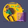 Burglar thief in mask on the big opened safe full of gold coins, cash, money. Vector illustration