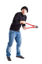 Burglar with wire cutters a or a thief holding big Royalty Free Stock Photo