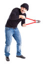 Burglar with wire cutters a or a thief holding big Stock Photos