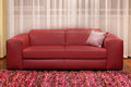 Burgundy couch modern leather in living room interior Stock Photo