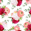 Burgundy red and white peonies, ranunculus, rose seamless vector pattern