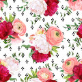 Burgundy red and white peonies, ranunculus, rose seamless vector