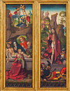 The burial and resurrection of jesus scene from gothic carved altar in church of the teutonic order or deutschordenkirche vienna Royalty Free Stock Photography