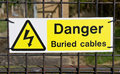Buried cables a notice warning of electric Royalty Free Stock Image