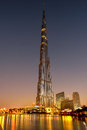 Burj khalifa in dubai scenic view of tower illuminated at sunrise united arab emirates Stock Photo
