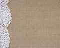 Burlap background with lace Royalty Free Stock Photo