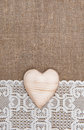 Burlap Background With Lacy Cl...