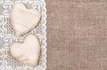 Vrecovina krajkový tkanina a drevený srdce