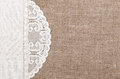 Burlap background with lacy and linen cloth white Royalty Free Stock Photo