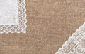 Burlap background with lacy and linen cloth white Royalty Free Stock Photos