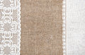 Burlap background with lacy and linen cloth white Stock Photos