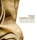 Burlap background with rope Stock Photo