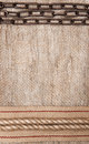 Burlap background with sacking ribbon metal chain and rope textile Stock Images