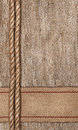 Burlap background with sacking ribbon and rope textile Stock Image