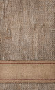 Burlap background with sacking ribbon textile Stock Photography