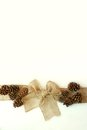 Burlap christmas bow with pinecones isolated on white background a tan colored ribbon is tied into a as if wrapped around a Stock Photo