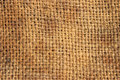 Burlap closeup of brown fibers Stock Images