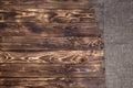 Burlap on dark wooden background