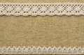 Burlap with lace beige white Royalty Free Stock Photos