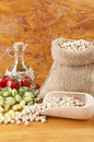 Burlap sack with chickpeas Stock Photos