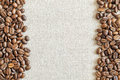 Burlap Sackcloth Canvas and Coffee Beans Placed Round Photo Back Royalty Free Stock Photo