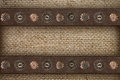 Burlap with suede edging and buttons background of Stock Image