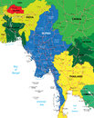 Burma map highly detailed vector of with administrative regions main cities and roads Royalty Free Stock Image