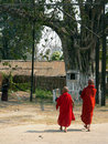 Burma. Monks walk to Temple Royalty Free Stock Photo