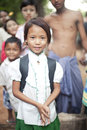 Burmese girl in school uniform, danaka paste Stock Image