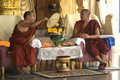Burmese monks in a buddhist temple in penang Royalty Free Stock Image