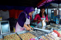 stock image of  Burmese people sale snack myanmar style for traveller at small market