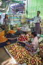 Burmese people selling fruit market stall bagan myanmar burma Stock Photography