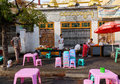Burmese people selling street food