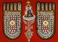 Burmese sand painting religious symbolism feet buddha Stock Photos