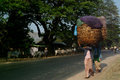 Burmese woman carrying on their heads mandalay myanmar march an unidentified the big basket her head at mandalay myanmar march by Royalty Free Stock Photo