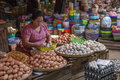 Burmese woman selling eggs market stall ancient city bagan myanmar burma Royalty Free Stock Photography