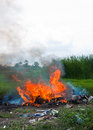 Burn refuse, poisonous smoke Stock Images
