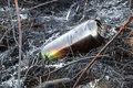 Burned beer can picture of a after the bushfire Stock Photos