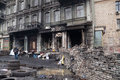 Burned building on Euromaidan, Kiev, Ukraine Stock Images