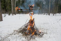 Burned an effigy of maslenitsa burnt the carnival at the festival seeing the russian winter Stock Image