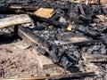 Burned house arson fire devil Royalty Free Stock Photo
