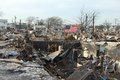 Burned houses in the aftermath of Hurricane Sandy in Breezy Point, NY Royalty Free Stock Photo